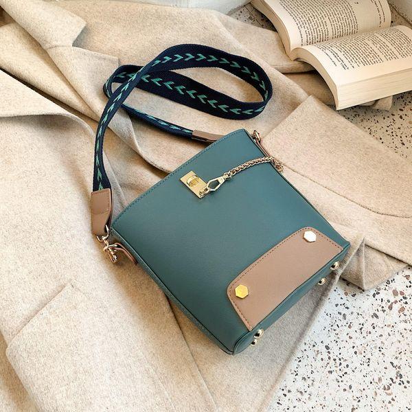Women's New Winter Broadband Bucket Bag Korean Fashion Chain Messenger Bag NHTC195539