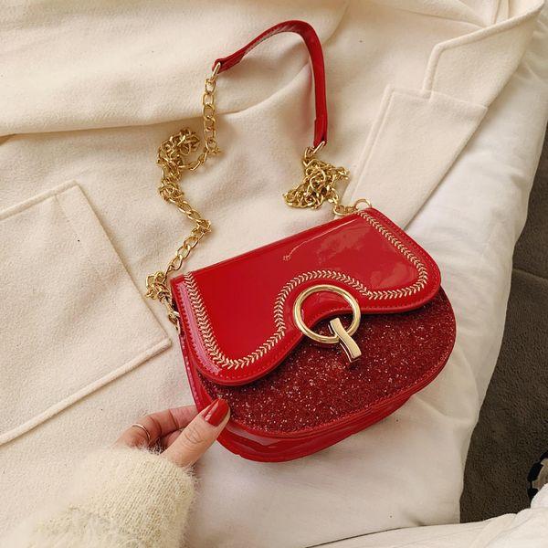 Women's new Korean messenger bag cute patent leather sequin chain bag NHTC195541