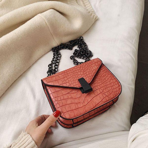 Retro small bag women's new chain crocodile pattern crossbody bag NHTC195553