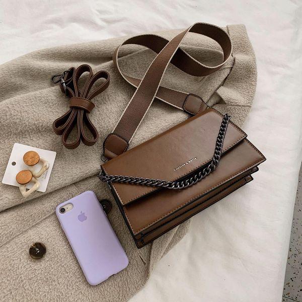 Bolso retro para mujer nuevo bolso bandolera ancho con correa de hombro popular bolso cuadrado pequeño de moda coreana NHTC195558