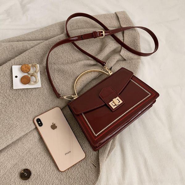 Leather shiny small bag women handbag wild crossbody bag NHTC195567