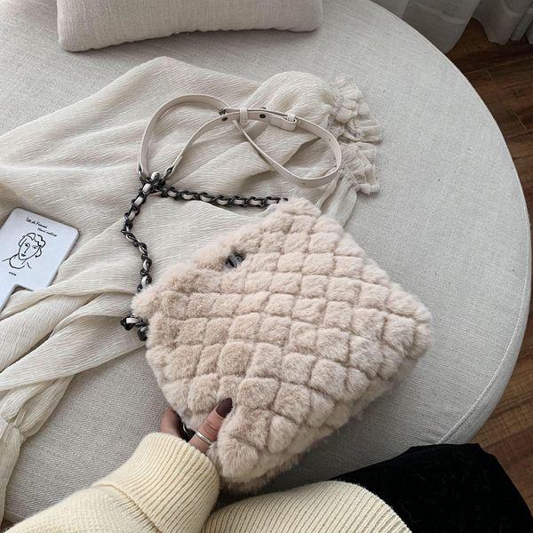 Furry bag small bag wild messenger bag chain fashion shoulder bag NHTC195649