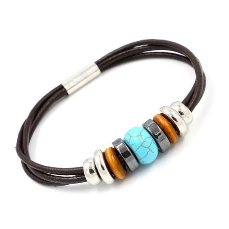 Wholesale turquoise beaded leather rope bracelet NHHM195661's discount tags