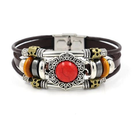 Flower shaped beaded leather bracelet multi-element new ladies bracelet NHHM195663's discount tags