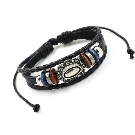 Men's and women's multi-layer beaded leather bracelets NHHM195669's discount tags