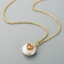 Necklace simple pearl copper micro inlaid zircon heart pendant clavicle chain NHLN195679