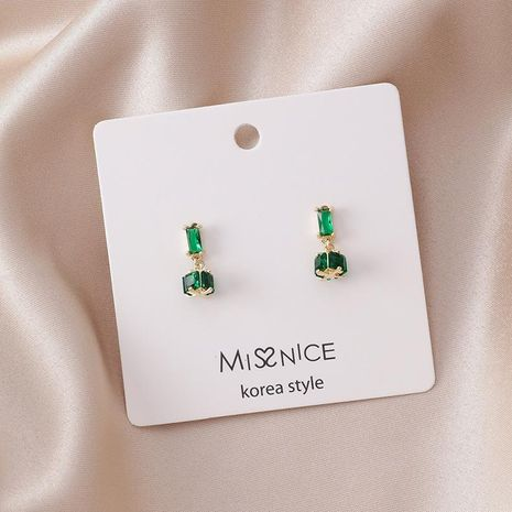 Silver Vintage Geometric Square Cylindrical Emerald Earrings NHMS195701's discount tags