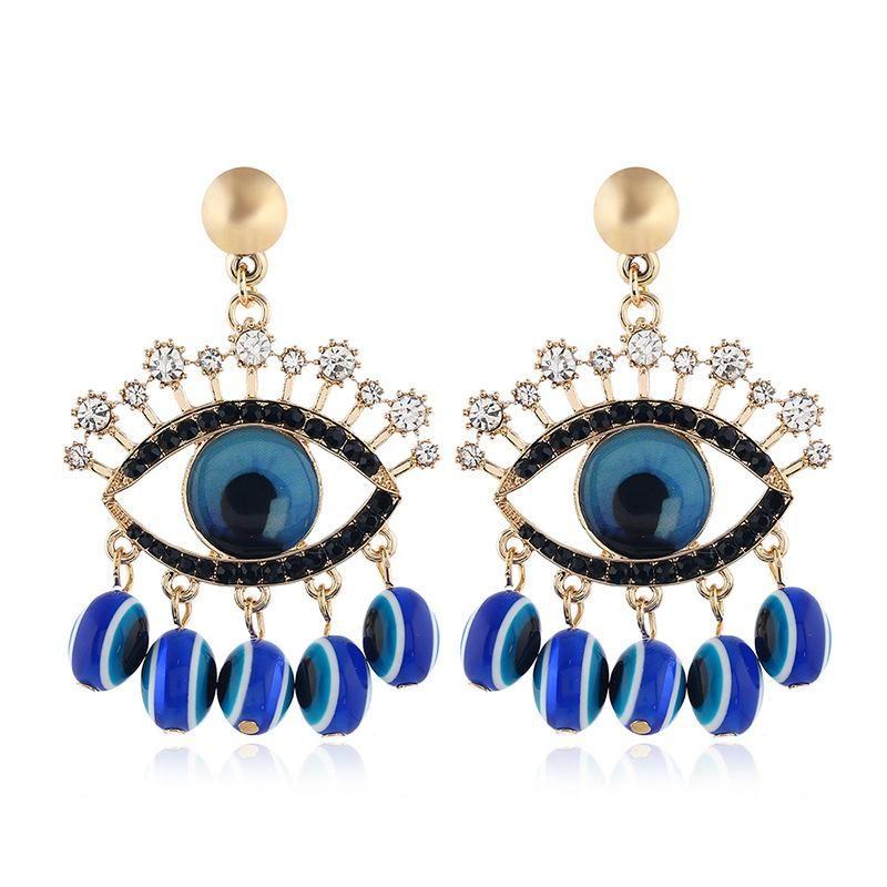 Fashion Diamond Earrings Vintage Eye Tassel Earrings Wholesale NHVA195722