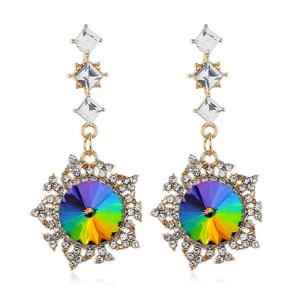 Fashion Alloy Diamond Earrings NHVA195727