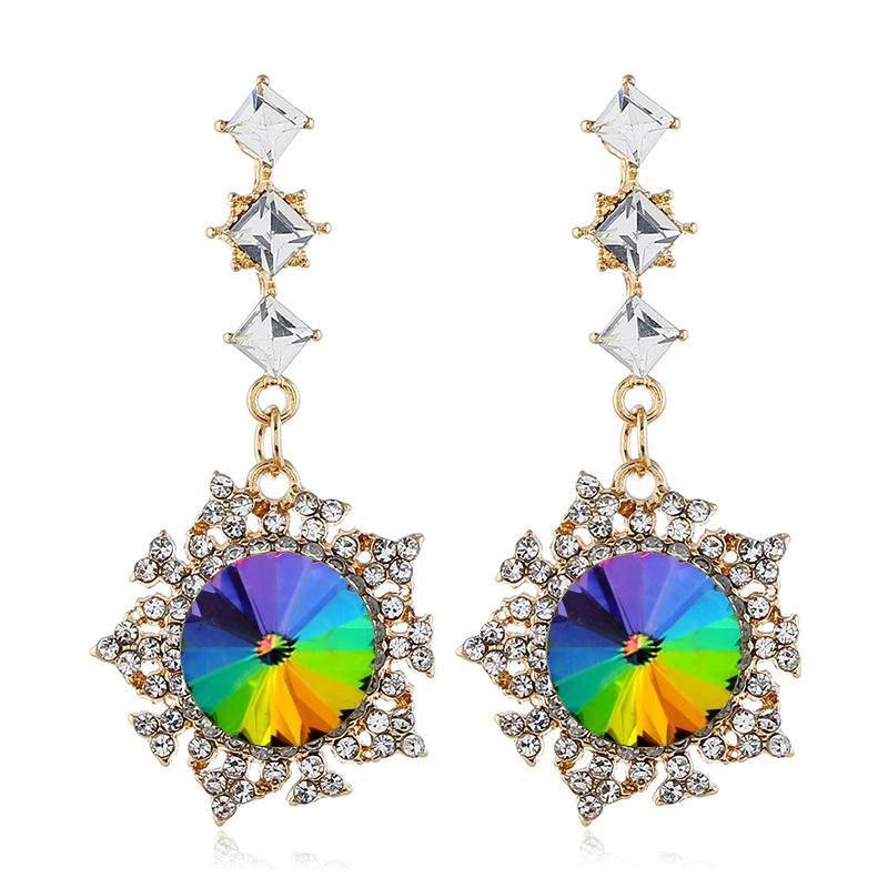 Fashion Alloy Diamond Earrings NHVA195727
