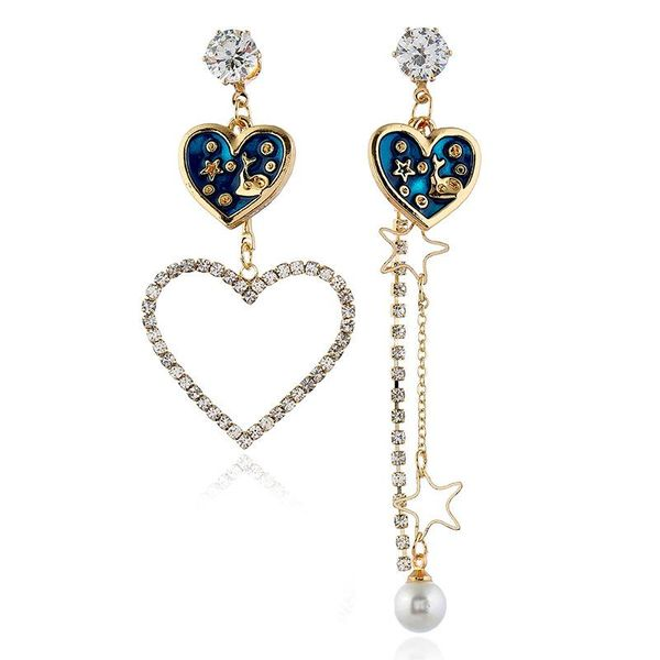Simple Tassel Stud Earrings with Diamonds and Hearts Asymmetric Long Beaded Earrings NHVA195731