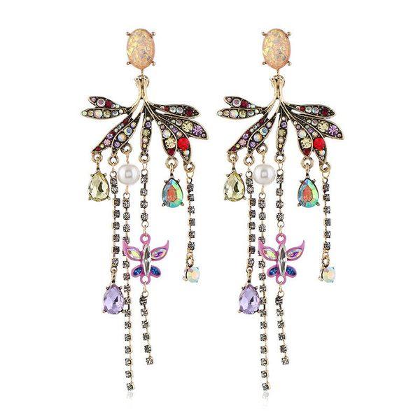 Fashion Vintage Earrings Wholesale Exaggerated Pearl Tassel Earrings NHVA195732