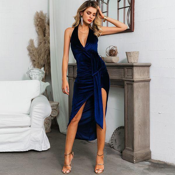 Sexy escote en V azul marino vestido dividido ropa de mujer de moda al por mayor NHDE195763