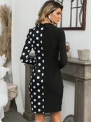 Sexy black polka dot stitching Vneck dress wholesale fashion womens clothing NHDE195768