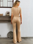 Sexy apricot tube top bodysuit flared pants wholesale fashion womens clothing NHDE195772