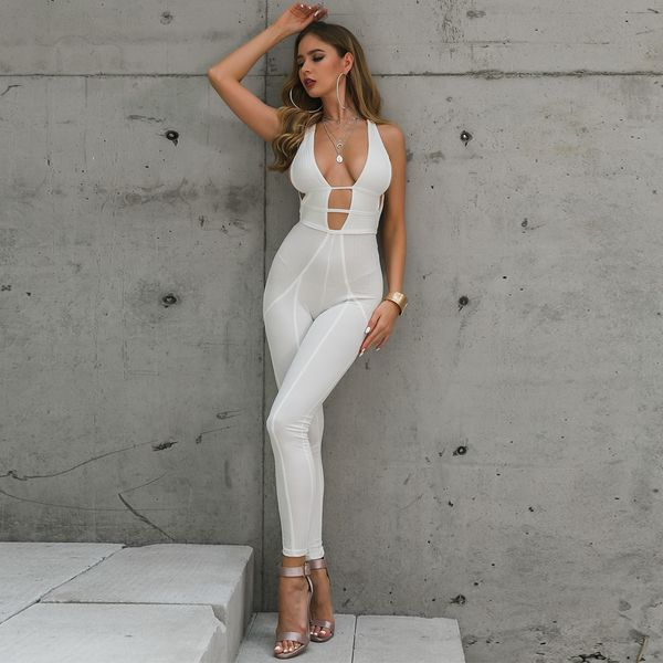 Sexy white lace top jumpsuit suit wholesale fashion women's clothing NHDE195777