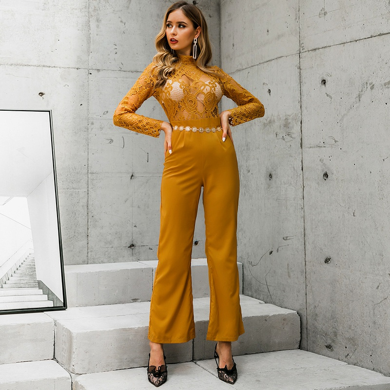Earthy sexy hollow tops pants jumpsuits wholesale fashion women's clothing NHDE195787