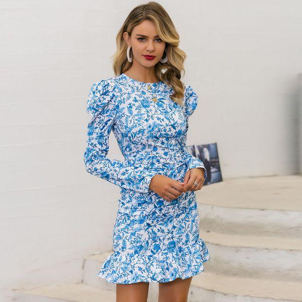 Vestido estampado azul dulce ropa de mujer de moda al por mayor NHDE195788