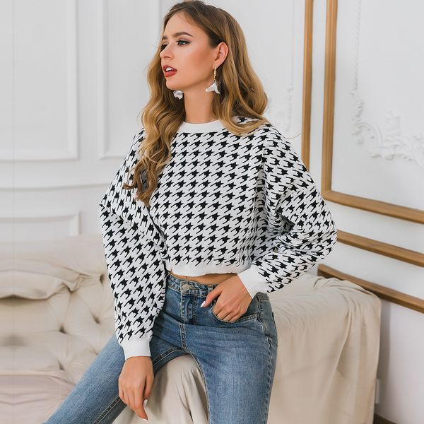 Embroidered black plaid short sweater wholesale fashion women's clothing NHDE195790