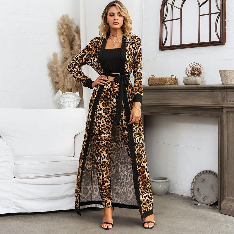 Wholesale fashion women's clothing black leopard print trousers jacket 3 piece set NHDE195824