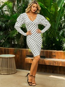 White sexy Vneck polka dot dress wholesale fashion womens clothing NHDE195826