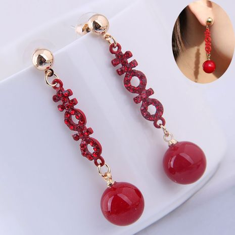 925 Silver Korean Fashion Sweet OL Simple Red Bead Earrings NHSC191700's discount tags