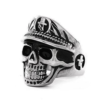 Men's Titanium Steel Men's Military Cap Police Big Skull Ring NHIM191534