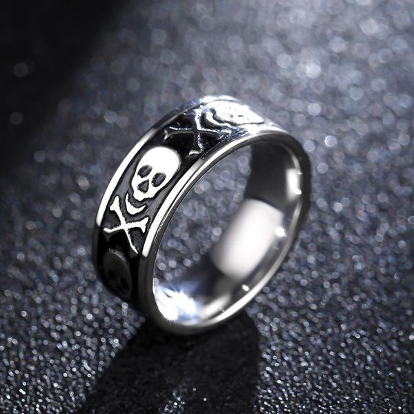 8mm Domineering Skull Ring Men's Titanium Steel Retro Ring NHIM191567