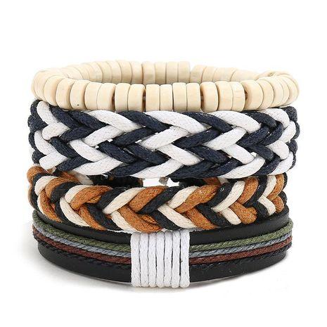Vintage wax line woven four-piece bracelet simple diy multiple combination leather bracelet NHPK191570's discount tags