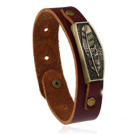 Cowhide bracelet vintage alloy feather leather bracelet NHPK191572's discount tags