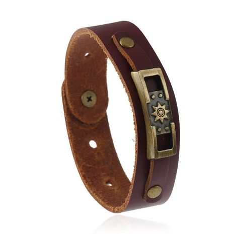 Leather bracelet vintage leather bracelet NHPK191573's discount tags