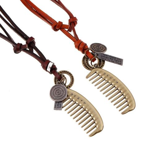 Vintage alloy comb leather rope pendant leather necklace sweater chain NHPK191574's discount tags