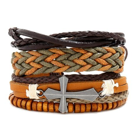 New vintage woven leather bracelet simple three-piece leather bracelet NHPK191576's discount tags