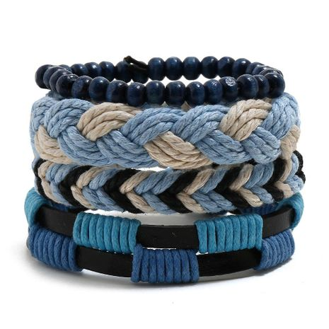 Hemp rope woven bracelet simple wooden beads four-piece cow bracelet NHPK191577's discount tags