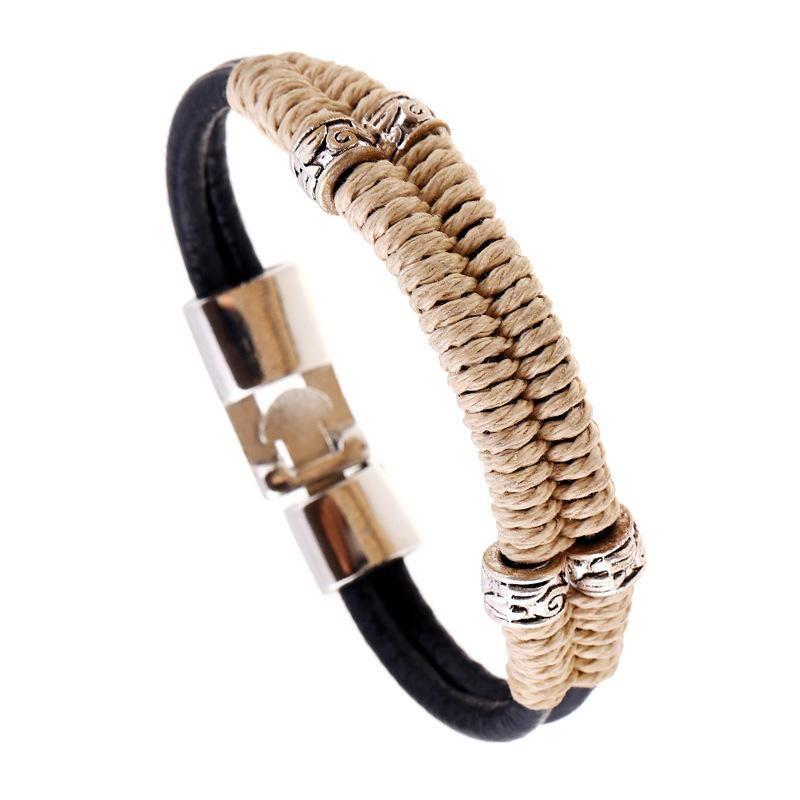 Vintage Hand Woven Cowhide Bracelet New Jewelry Wholesale NHPK191580
