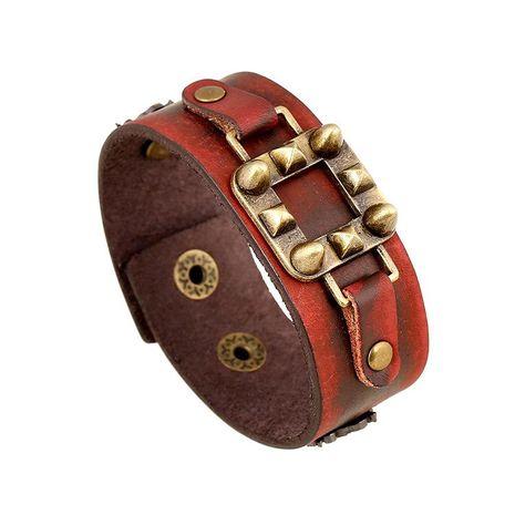 Vintage punk leather bracelet NHPK191581's discount tags