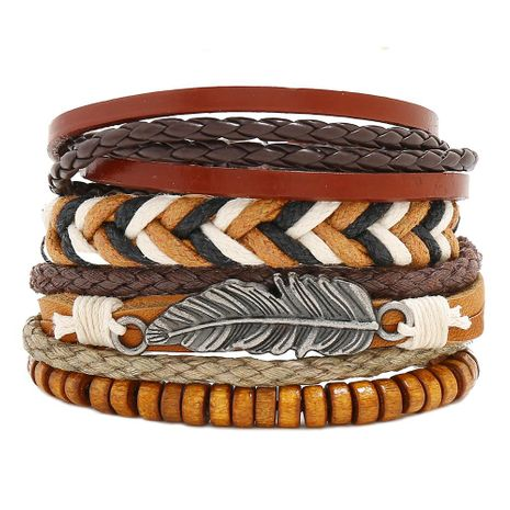 New retro woven leather bracelet simple diy multiple combination three-piece leather bracelet NHPK191584's discount tags