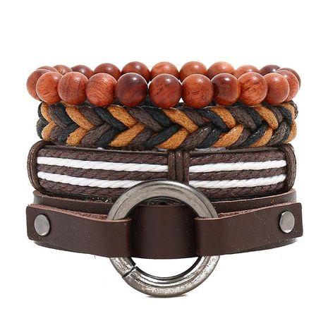 New four-piece leather bracelet men's jewelry retro woven bracelet wholesale NHPK191585's discount tags