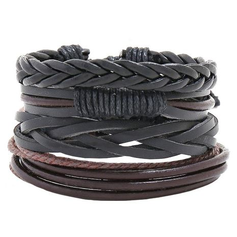 Jewelry multi-layer woven leather bracelet diy four-piece combination leather bracelet NHPK191588's discount tags