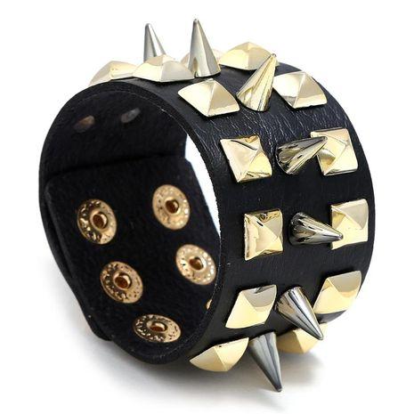 Men's Faux Leather Bracelet Punk Spike Stud Bracelet Jewellery NHPK191589's discount tags
