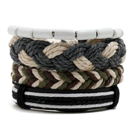 Hemp rope woven bracelet simple wooden beads four-piece leather bracelet NHPK191591's discount tags
