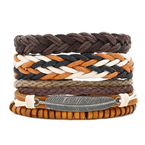 New retro woven leather bracelet simple diy multiple combination three-piece leather bracelet NHPK191592's discount tags