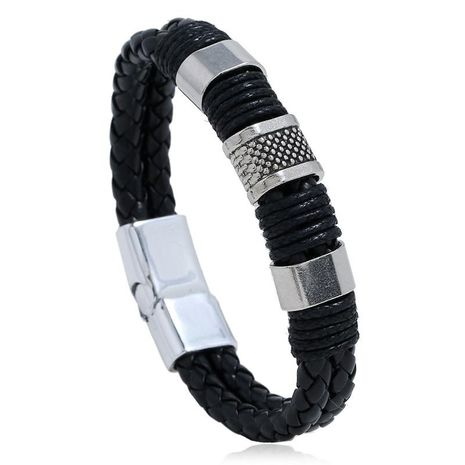 PU woven bracelet magnetic men's simple leather bracelet NHPK191595's discount tags