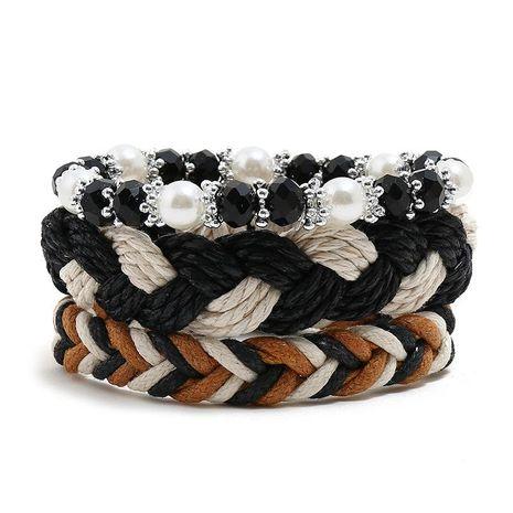Wax thread hand-woven bracelet boho vintage diy three-piece ladies bracelet bracelet rope wholesale NHPK191600's discount tags