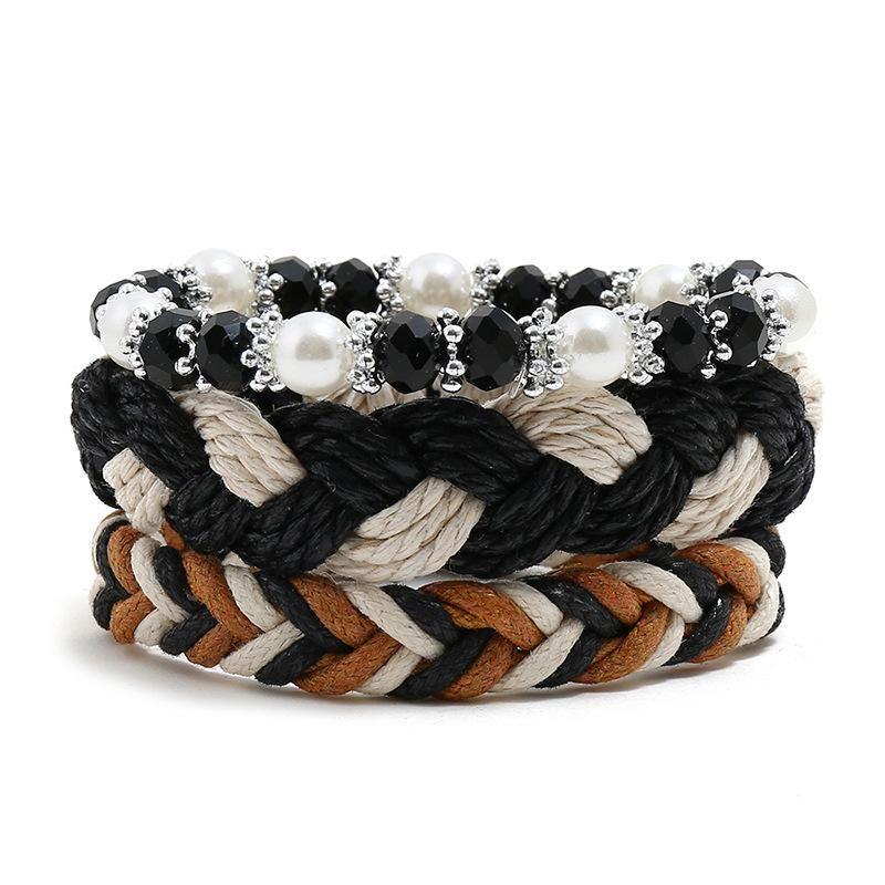 Wax thread hand-woven bracelet boho vintage diy three-piece ladies bracelet bracelet rope wholesale NHPK191600