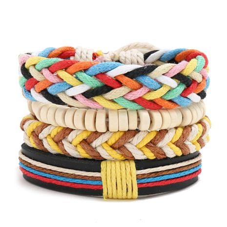 New colorful wax line braided four-piece girl bracelet simple diy multiple combination leather bracelet NHPK191601's discount tags