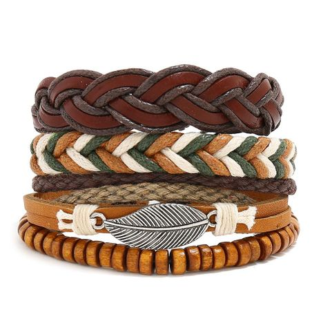 New retro woven leather bracelet simple diy multiple combination three-piece leather bracelet NHPK191602's discount tags