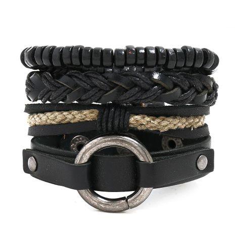 New four-piece leather bracelet men's jewelry retro woven punk suit bracelet NHPK191603's discount tags