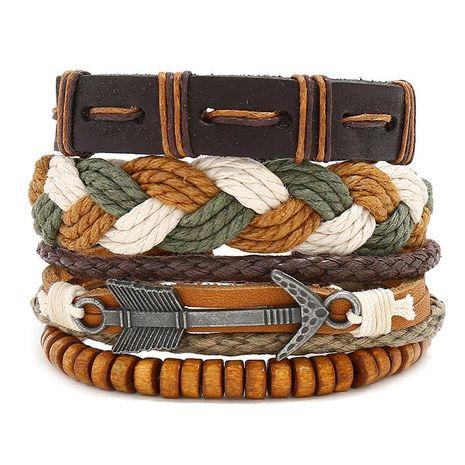 Vintage woven leather bracelet NHPK191606's discount tags