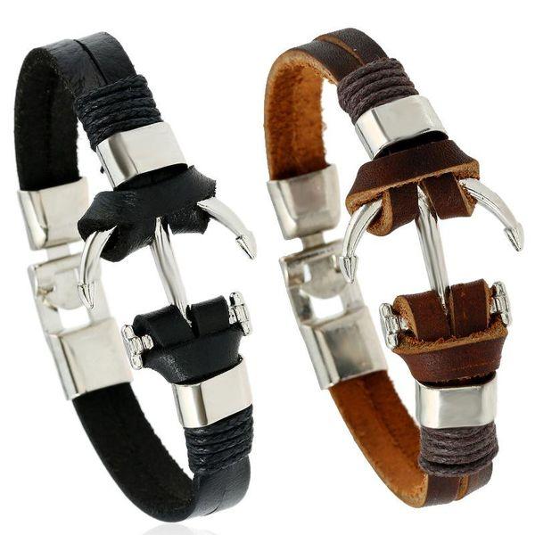 Explosion style retro handmade woven anchor leather bracelet new jewelry wholesale NHPK191607